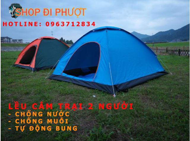 Lều Cắm Trại 2 Người Tự Bung - LB01 - Chống Nước - Siêu Bền